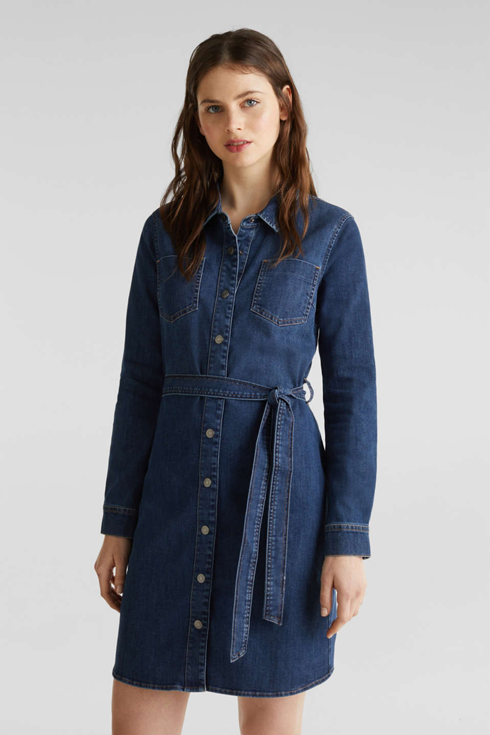 Stretch denim dress with tie-around belt, BLUE DARK WASH, detail image number 0