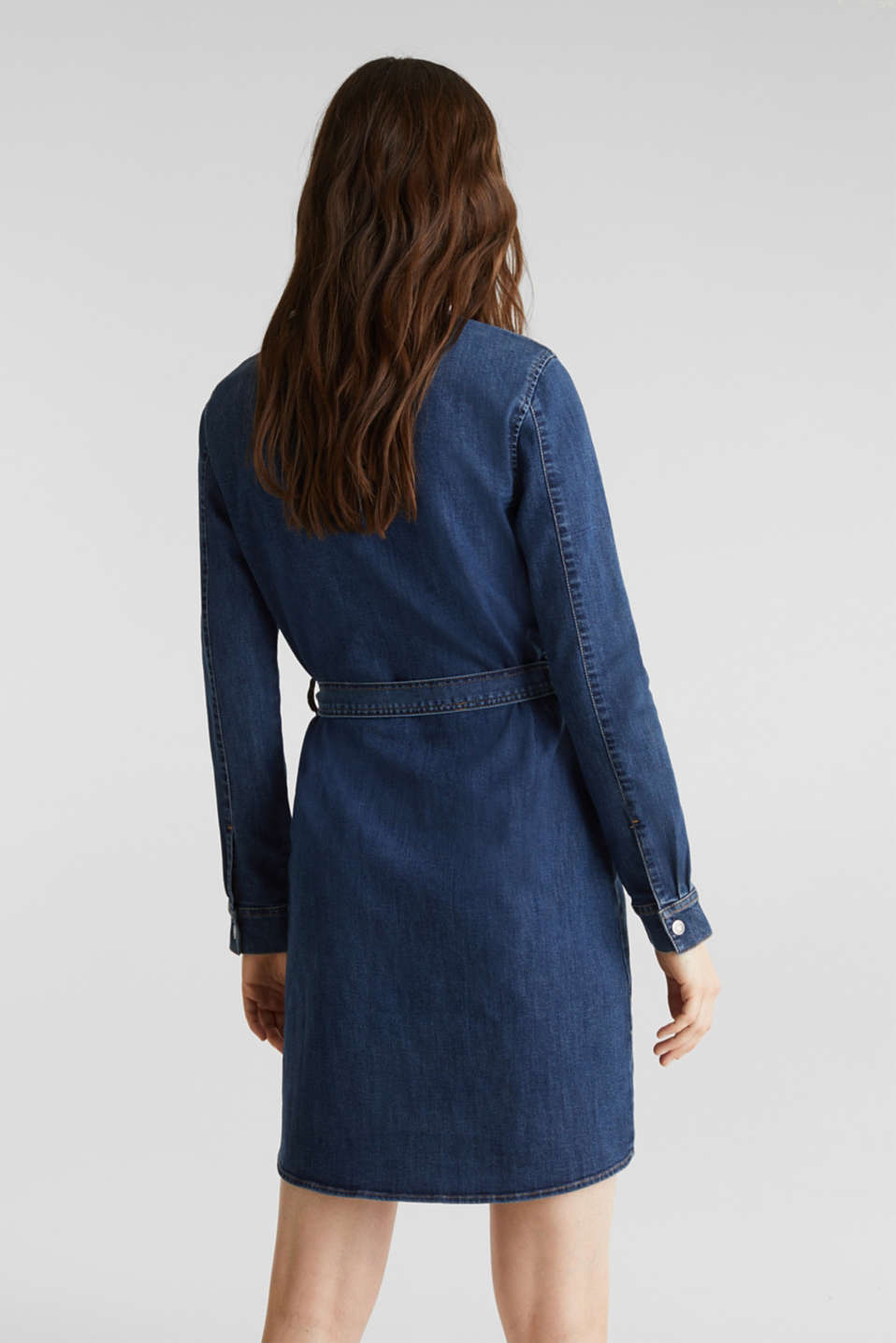 Stretch denim dress with tie-around belt, BLUE DARK WASH, detail image number 2