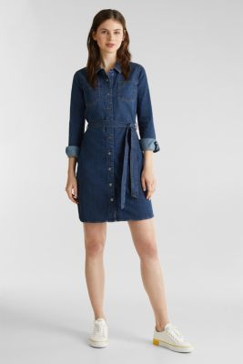 Stretch denim dress with tie-around belt, BLUE DARK WASH, detail