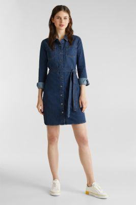 Stretch denim dress with tie-around belt, BLUE DARK WASH, detail