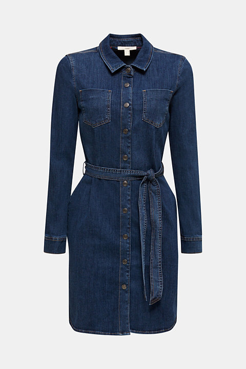 Stretch denim dress with tie-around belt