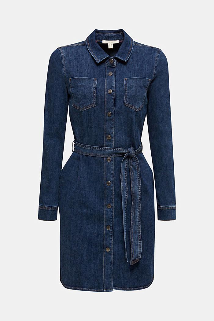 Abito in jeans elasticizzato con cintura da annodare, BLUE DARK WASHED, detail image number 0