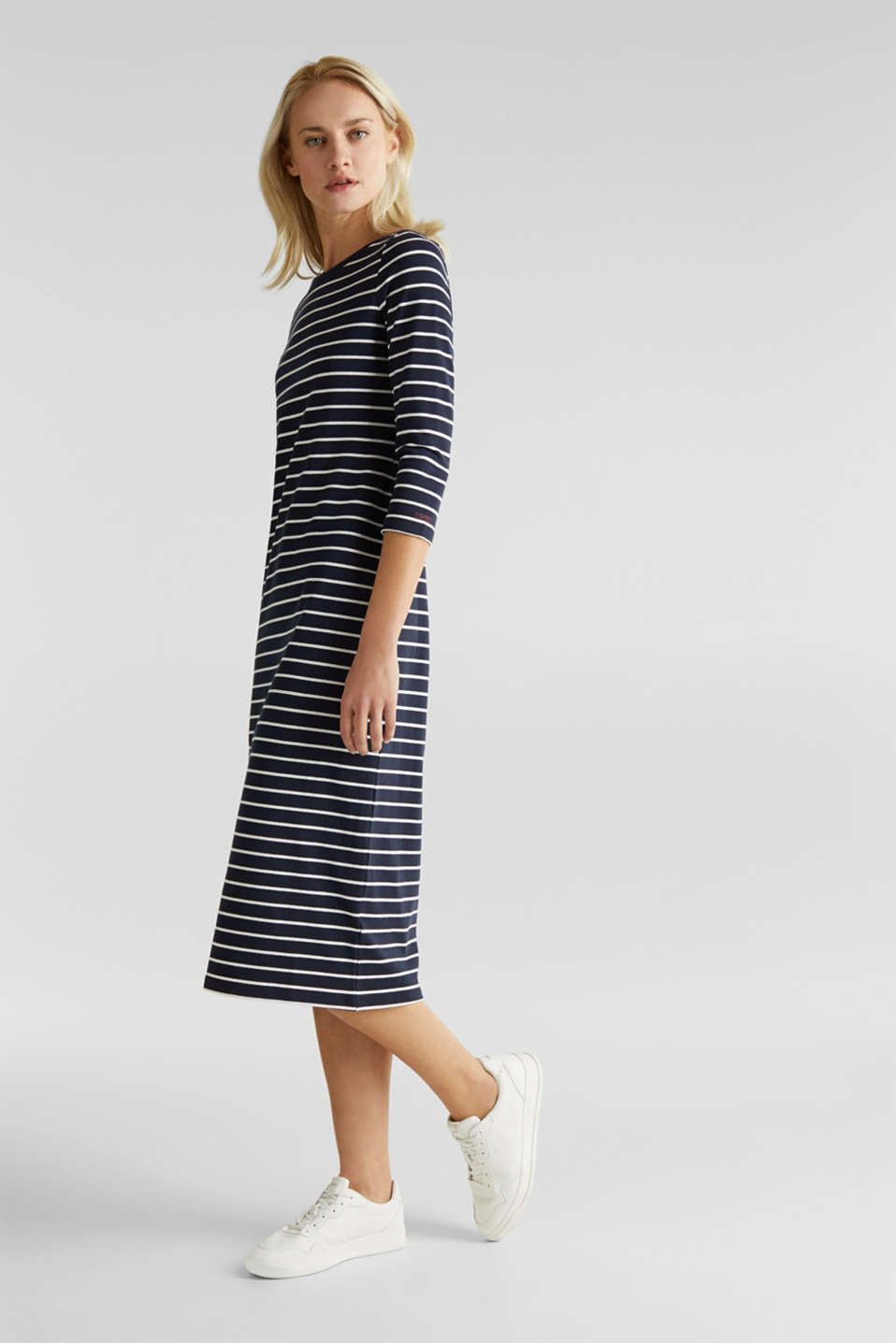 Midi dress in stretch jersey, NAVY, detail image number 0