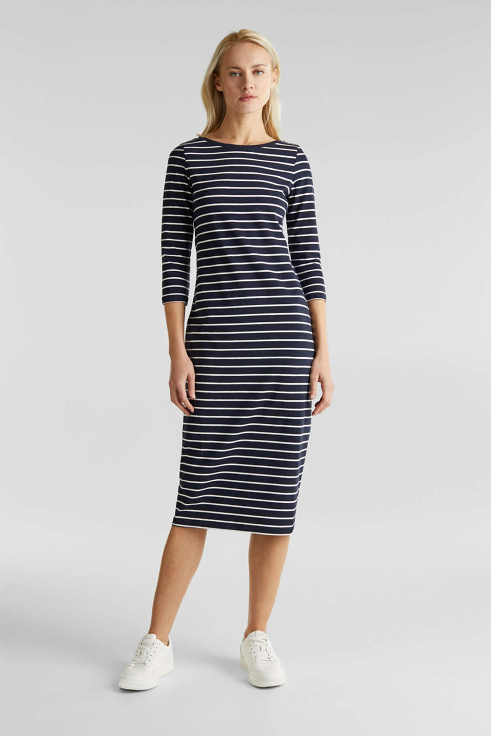 Midi dress in stretch jersey, NAVY, detail image number 1