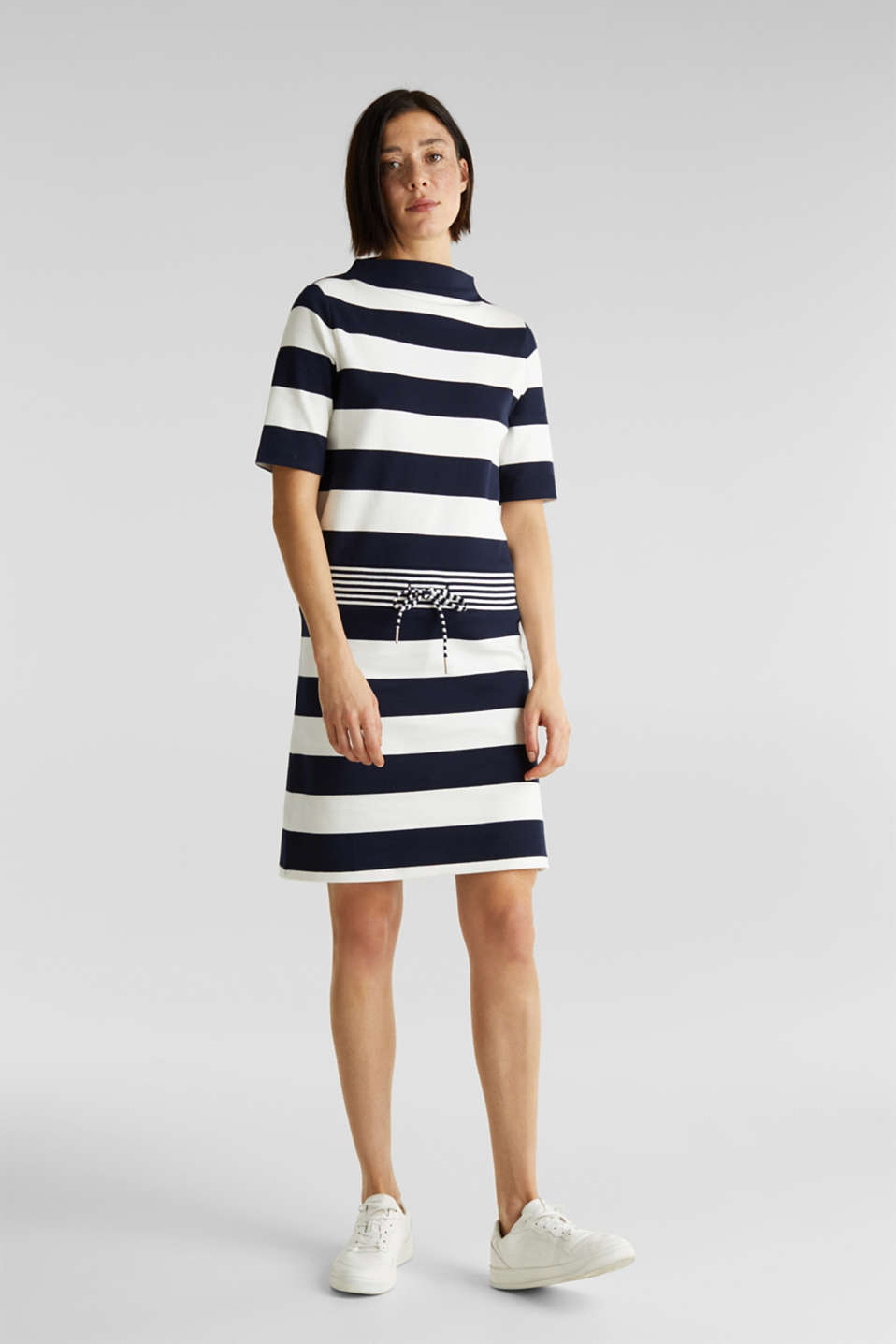 Jersey dress with stripes, 100% cotton, NAVY, detail image number 1