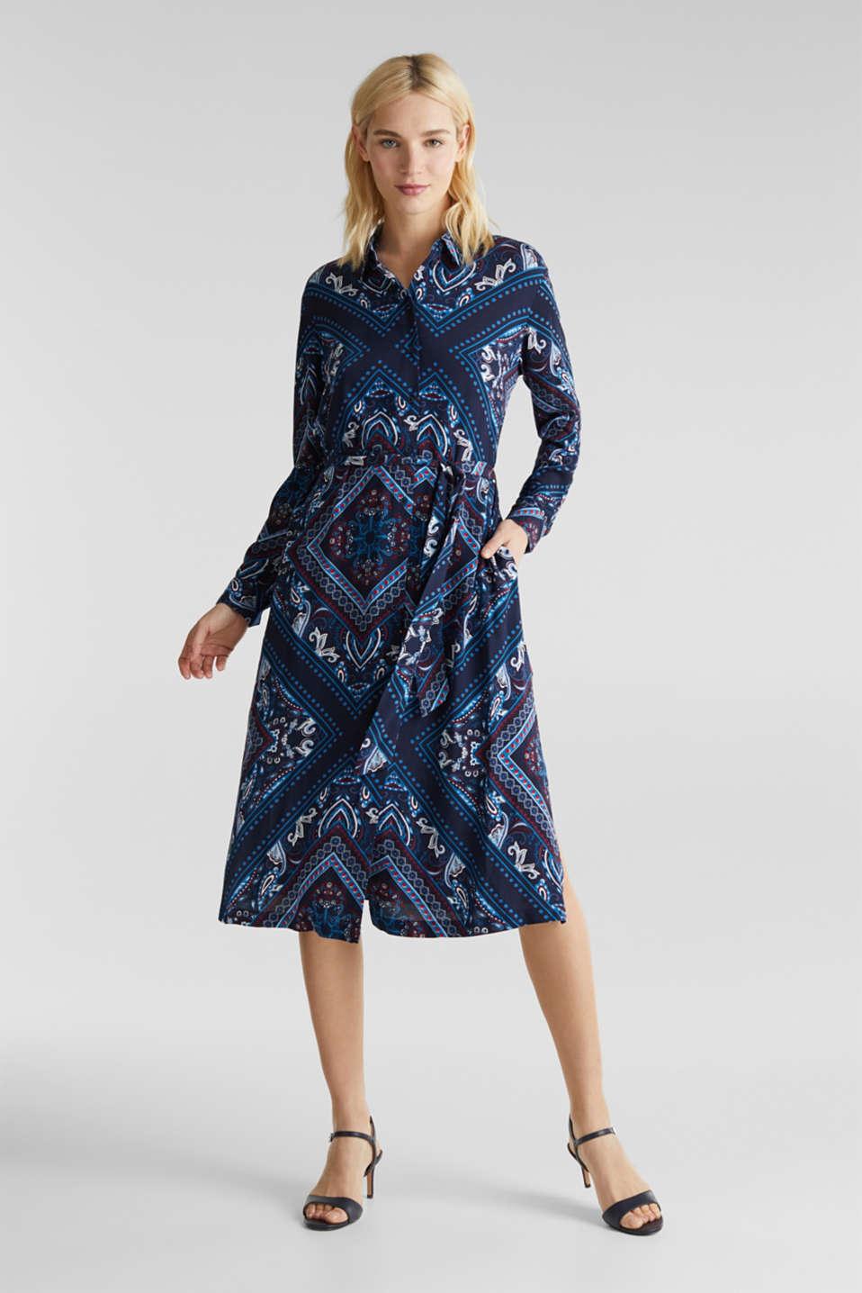 Shirt dress with bandana print, NAVY 4, detail image number 0