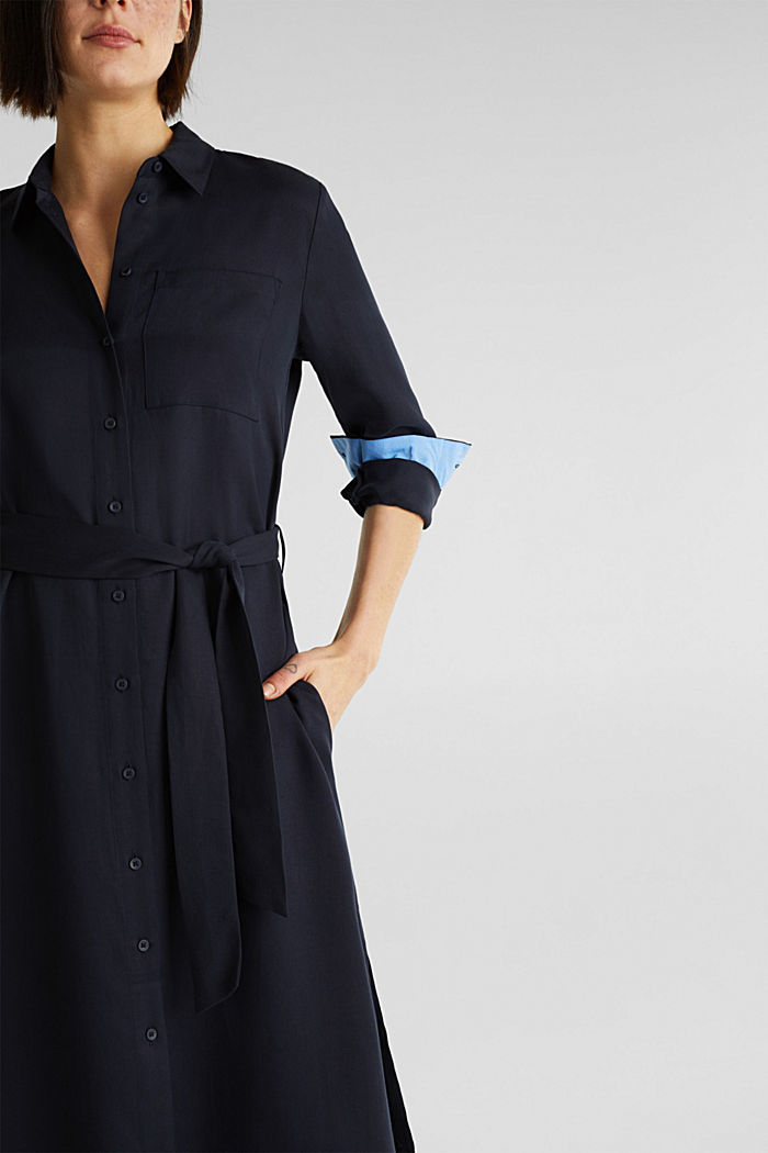 Piqué shirt dress made of lyocell, NAVY, detail image number 5