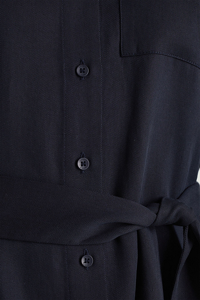 Piqué shirt dress made of lyocell, NAVY, detail image number 4