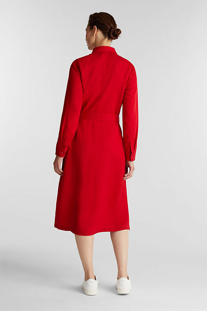 Piqué shirt dress made of lyocell, DARK RED, detail image number 2