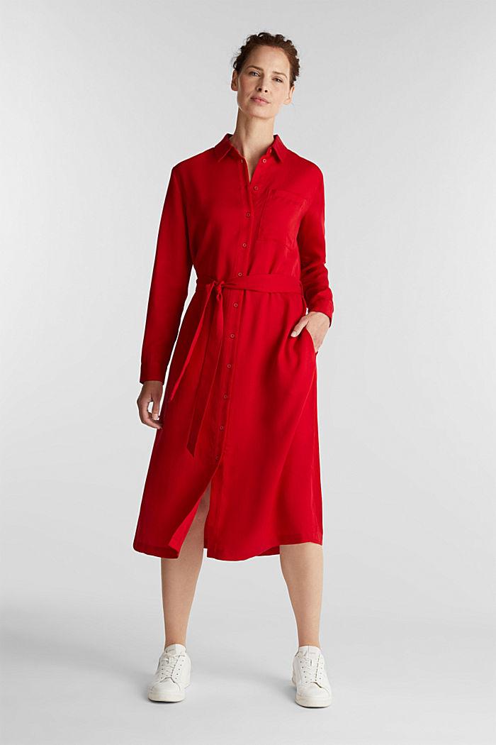 Piqué shirt dress made of lyocell, DARK RED, detail image number 1