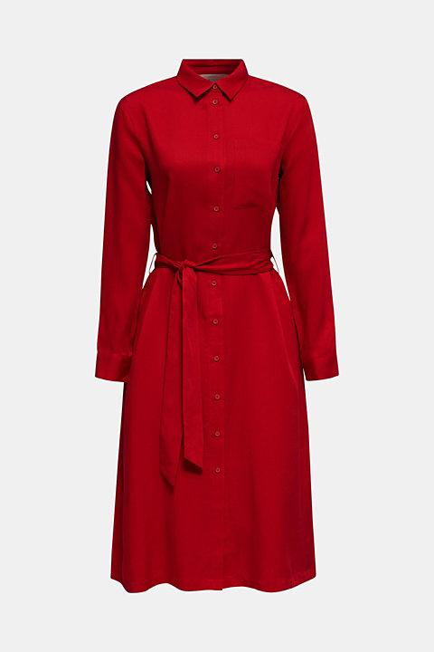 Piqué shirt dress made of lyocell