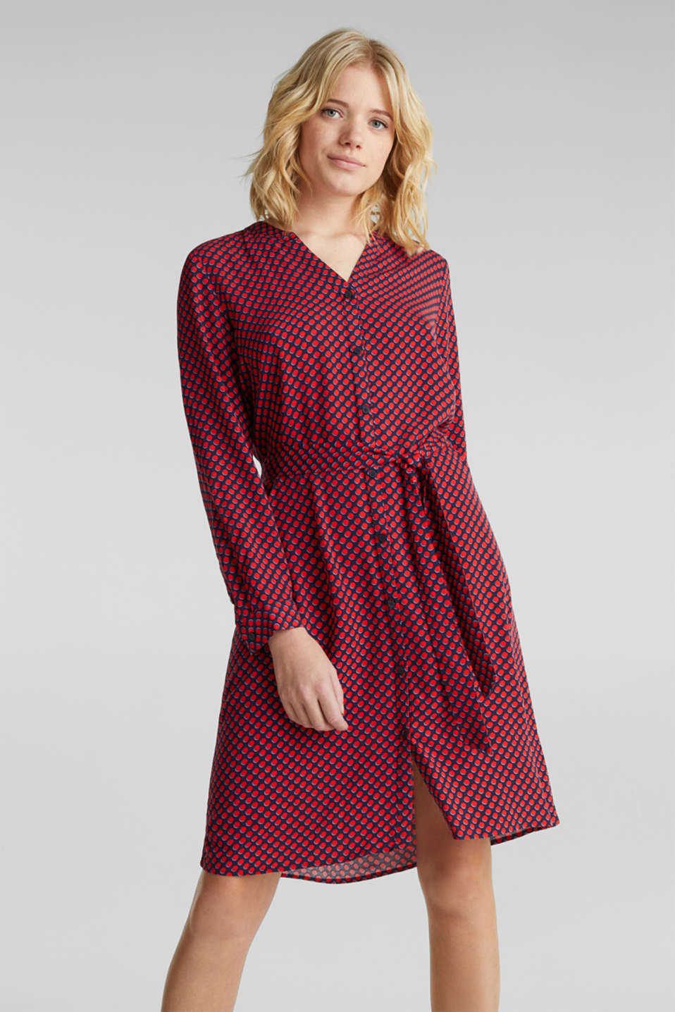 Esprit - Woven dress with a Henley neckline