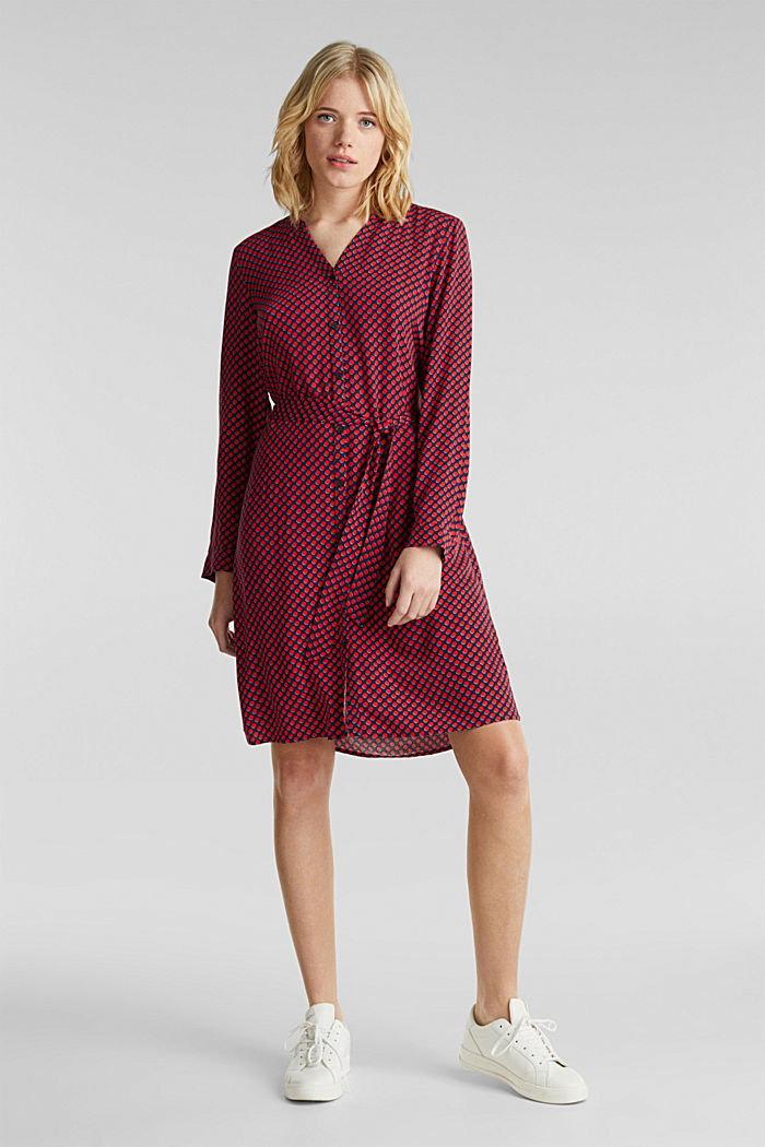 Woven dress with a Henley neckline