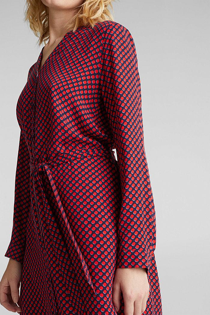 Web-Kleid mit Henley-Ausschnitt, NAVY, detail image number 3