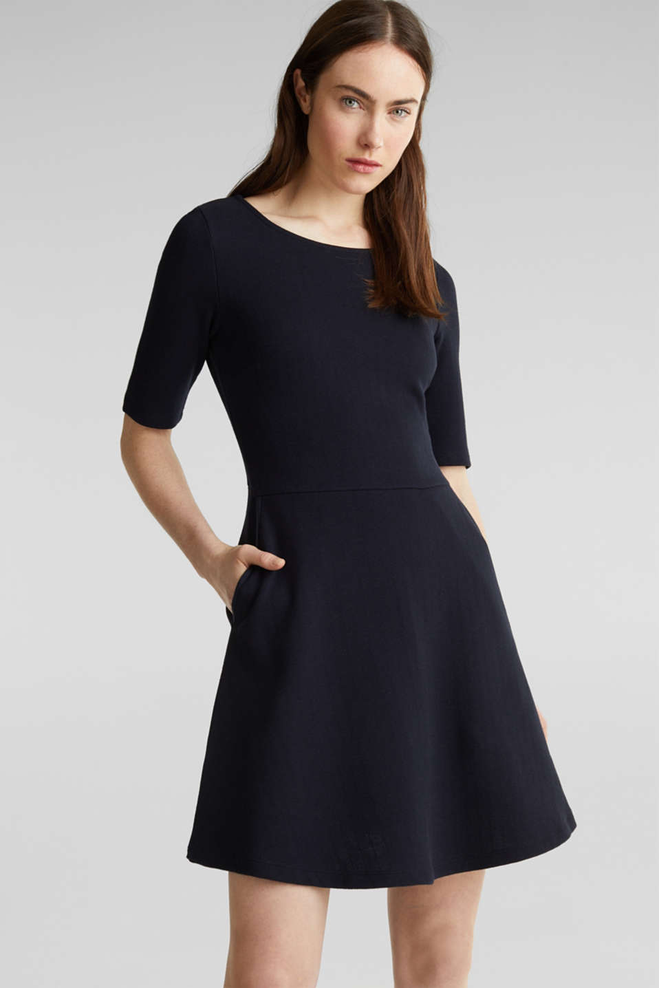 Esprit - Stretch piqué dress with a flared skirt