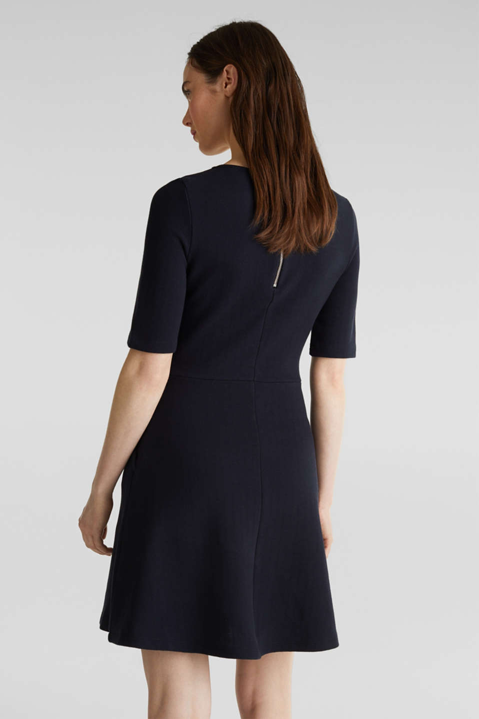 Stretch piqué dress with a flared skirt, NAVY, detail image number 2