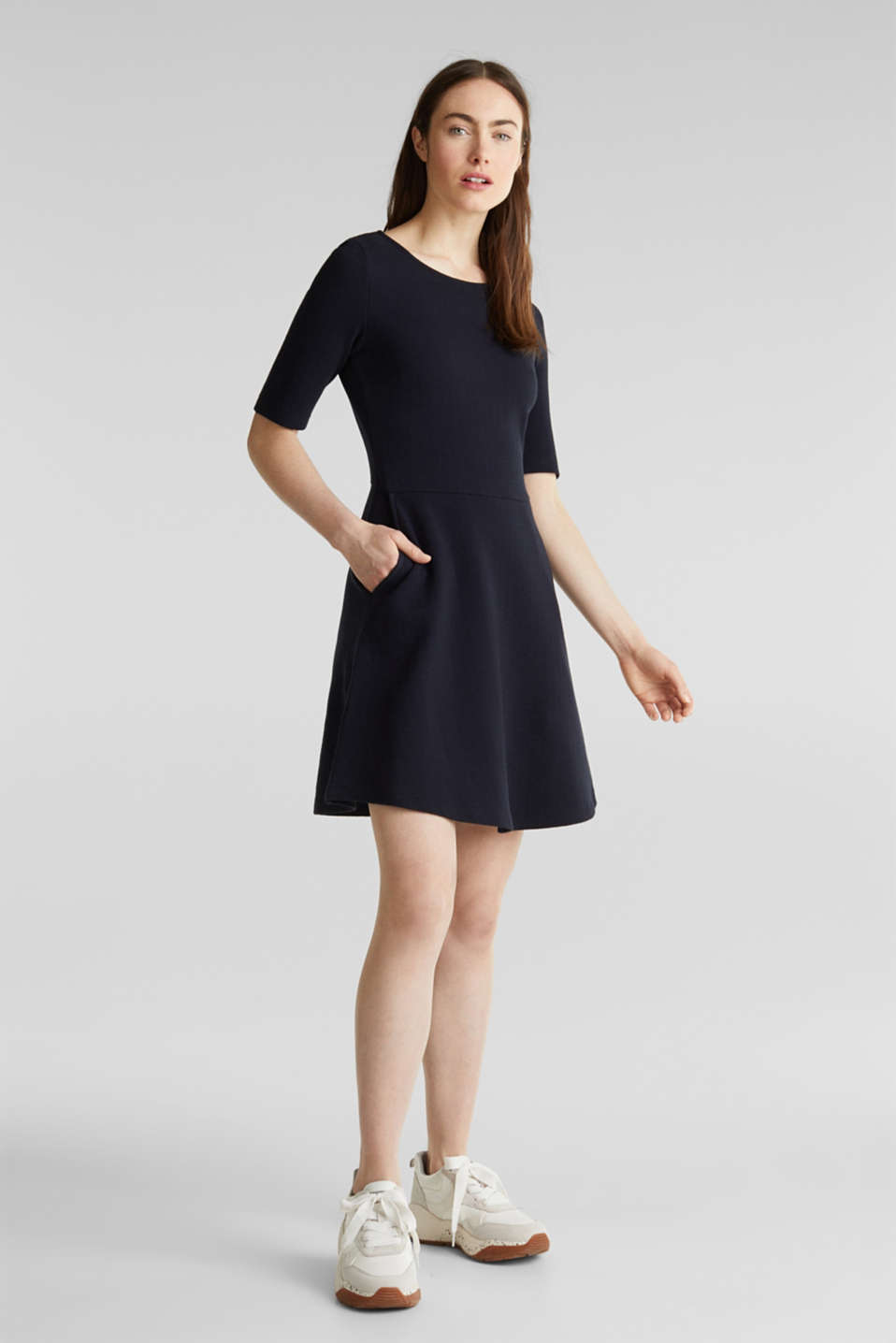 Stretch piqué dress with a flared skirt, NAVY, detail image number 1