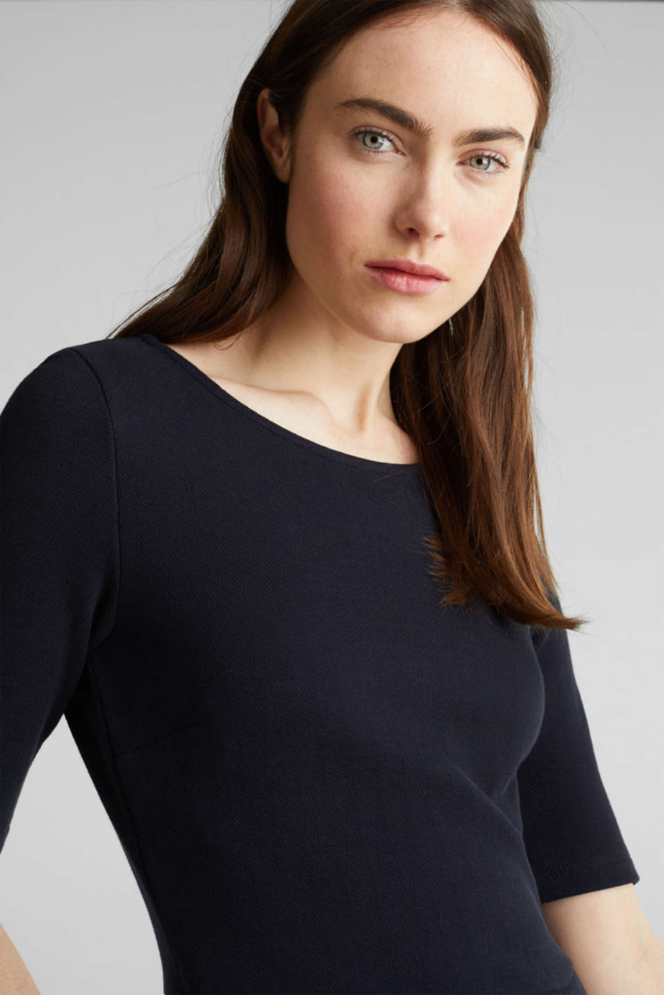 Stretch piqué dress with a flared skirt, NAVY, detail image number 3