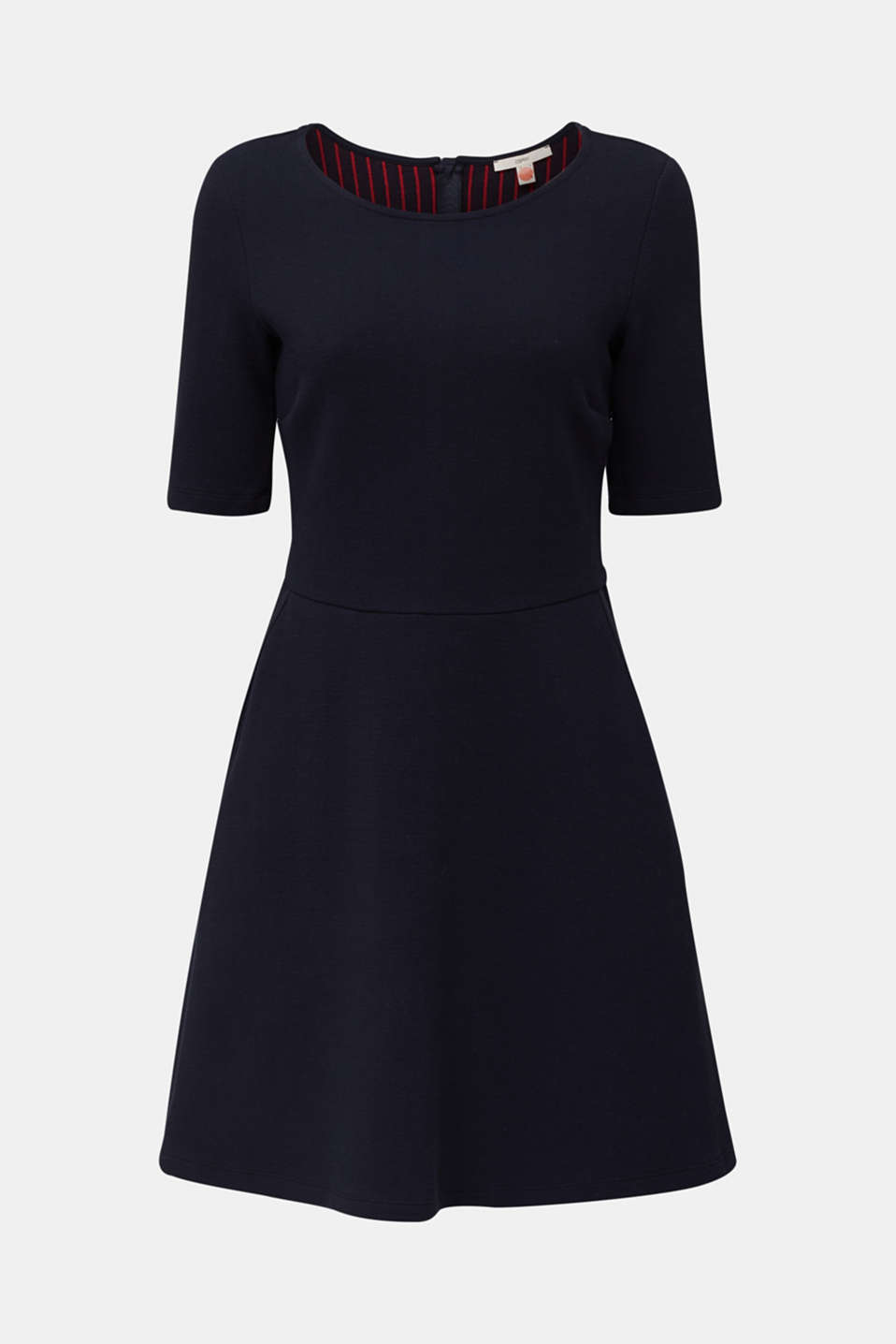 Stretch piqué dress with a flared skirt, NAVY, detail image number 6