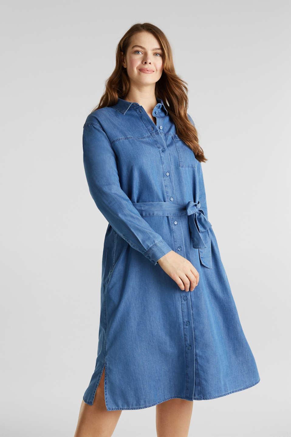 CURVY with TENCEL™: Denim-effect shirt dress, BLUE MEDIUM WASH, detail image number 0