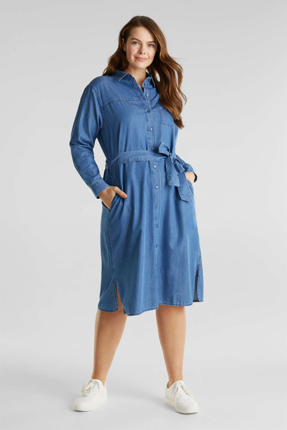 CURVY with TENCEL™: Denim-effect shirt dress, BLUE MEDIUM WASH, detail image number 1