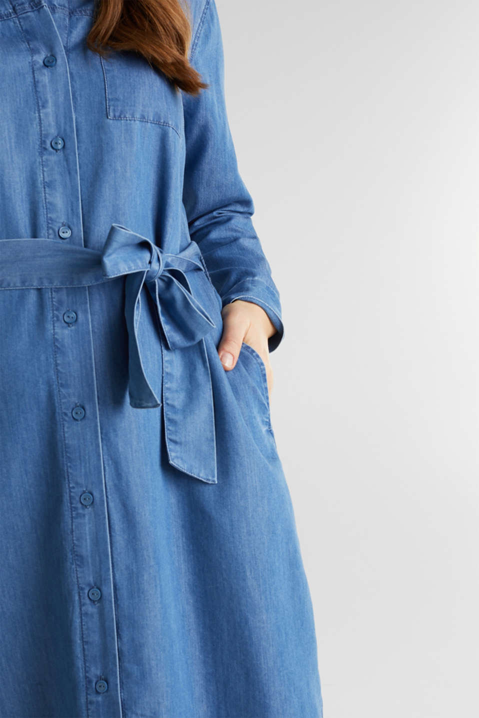 CURVY with TENCEL™: Denim-effect shirt dress, BLUE MEDIUM WASH, detail image number 3