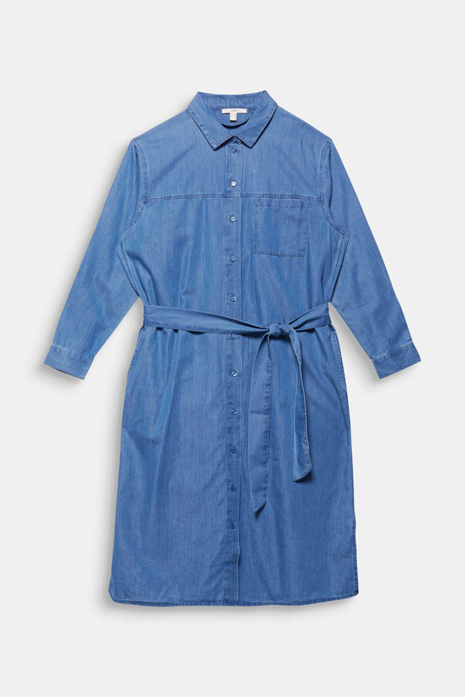 CURVY with TENCEL™: Denim-effect shirt dress, BLUE MEDIUM WASH, detail image number 7