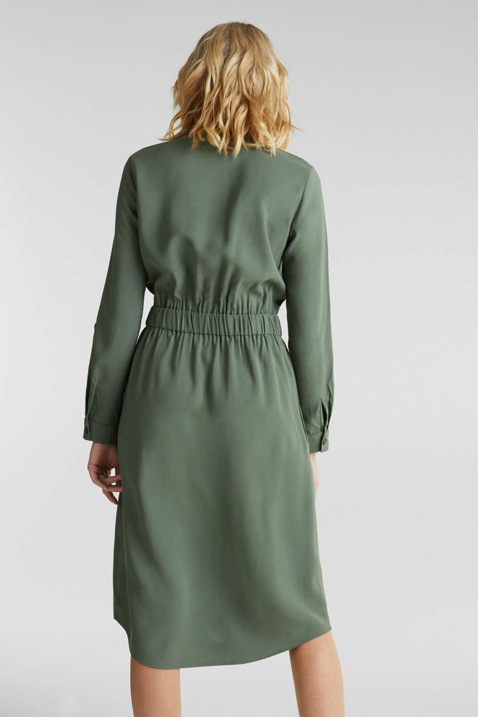 Shirt dress in a utility style, KHAKI GREEN, detail image number 3