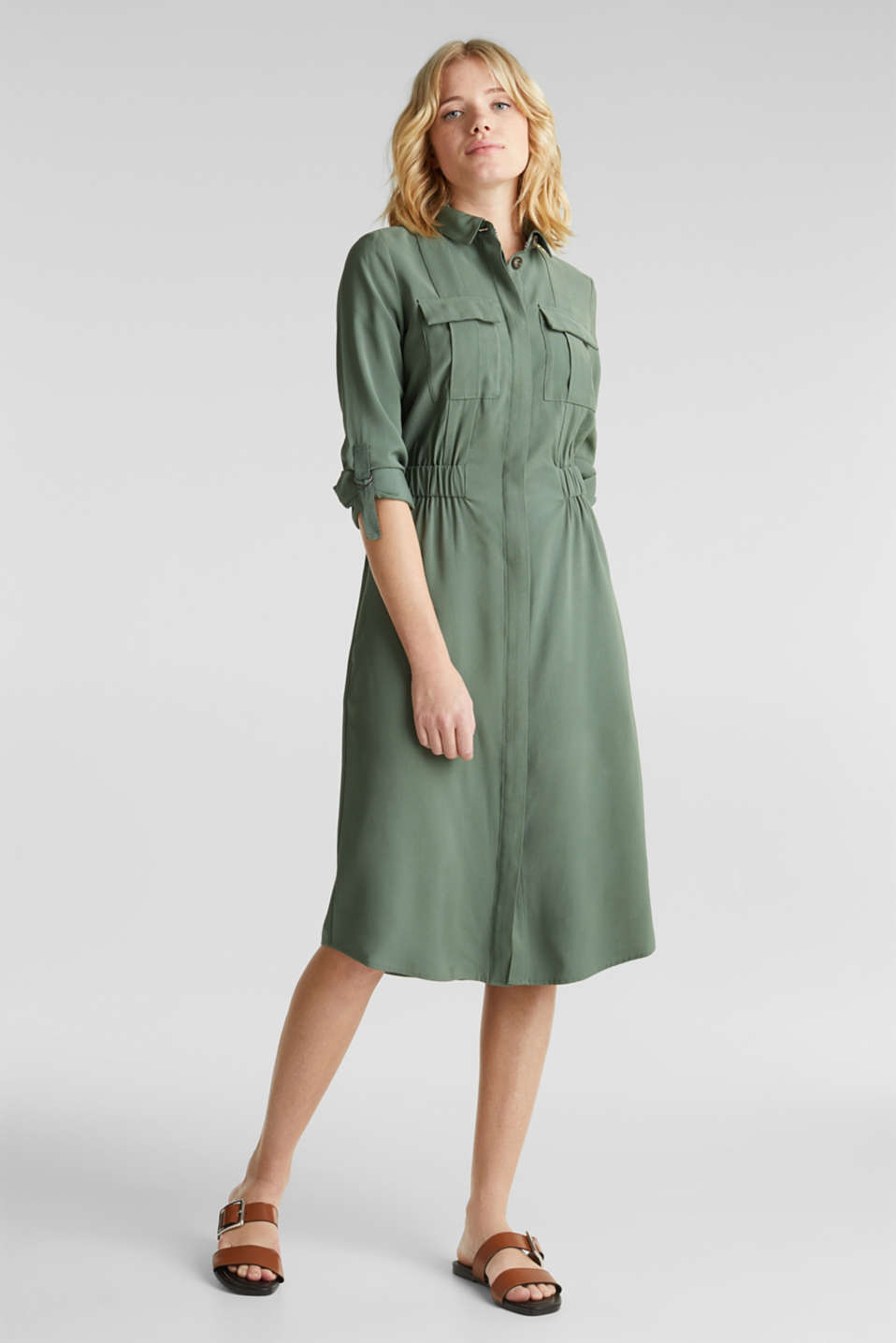 Shirt dress in a utility style, KHAKI GREEN, detail image number 1