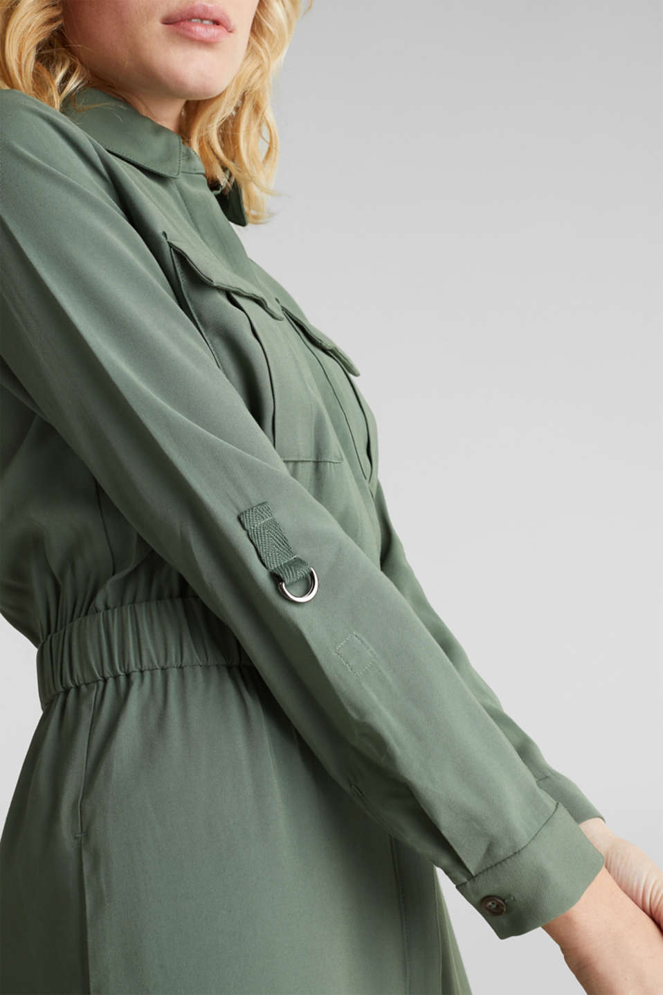 Shirt dress in a utility style, KHAKI GREEN, detail image number 2