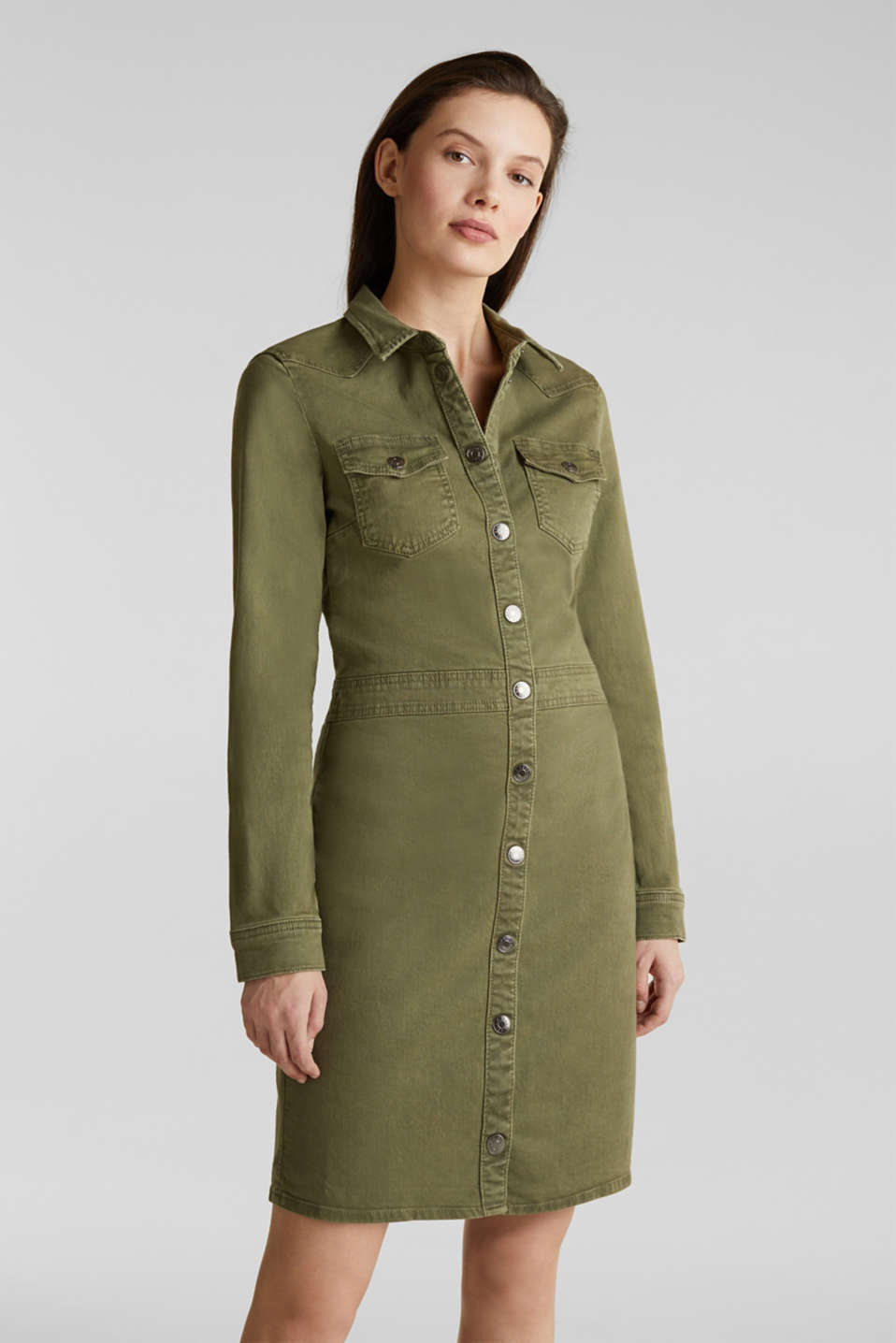 Utility dress made of stretch cotton, KHAKI GREEN, detail image number 0
