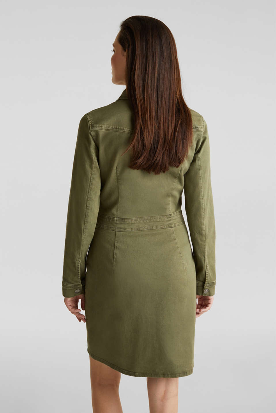 Utility dress made of stretch cotton, KHAKI GREEN, detail image number 3