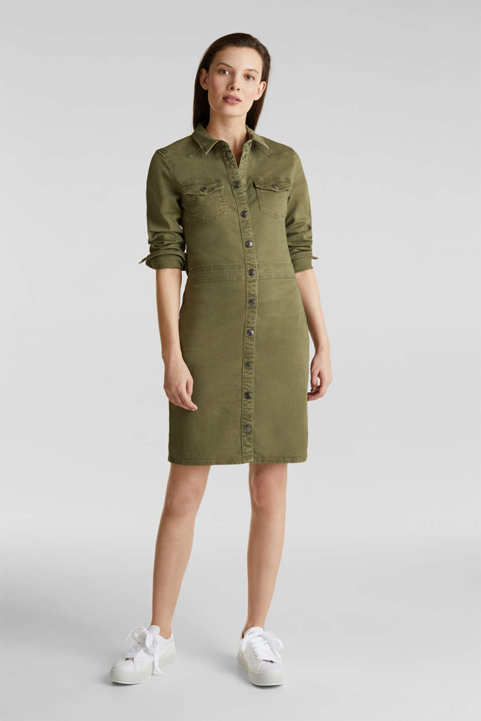 Utility dress made of stretch cotton, KHAKI GREEN, detail image number 1