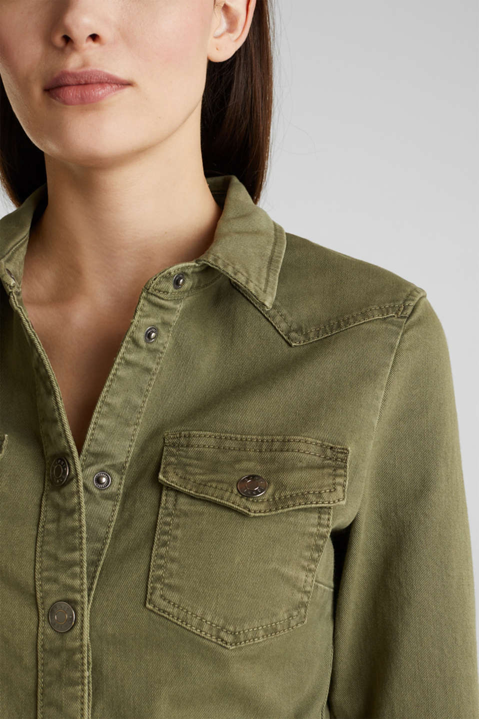 Utility dress made of stretch cotton, KHAKI GREEN, detail image number 2
