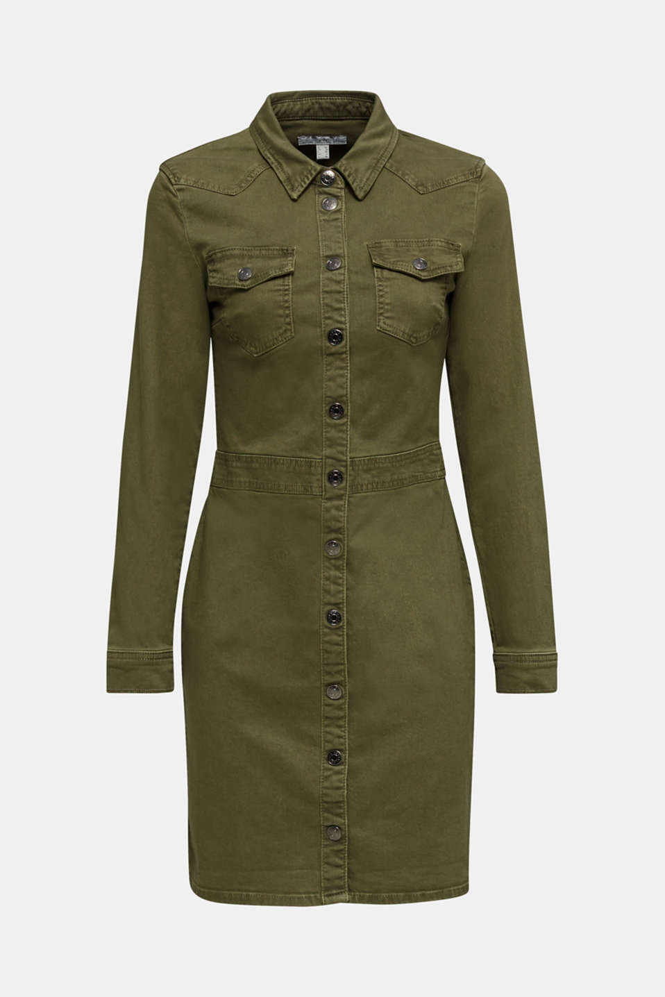 Utility dress made of stretch cotton, KHAKI GREEN, detail image number 6