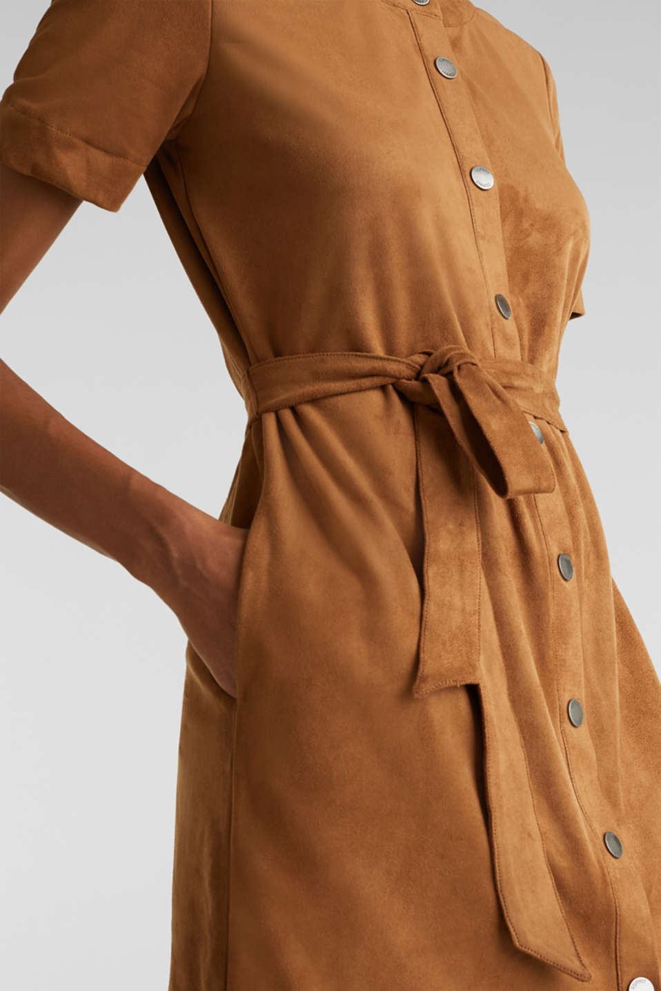 Faux leather dress with a press studs, TOFFEE, detail image number 5