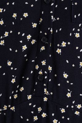 Shirt dress made of fine crêpe, NAVY, detail
