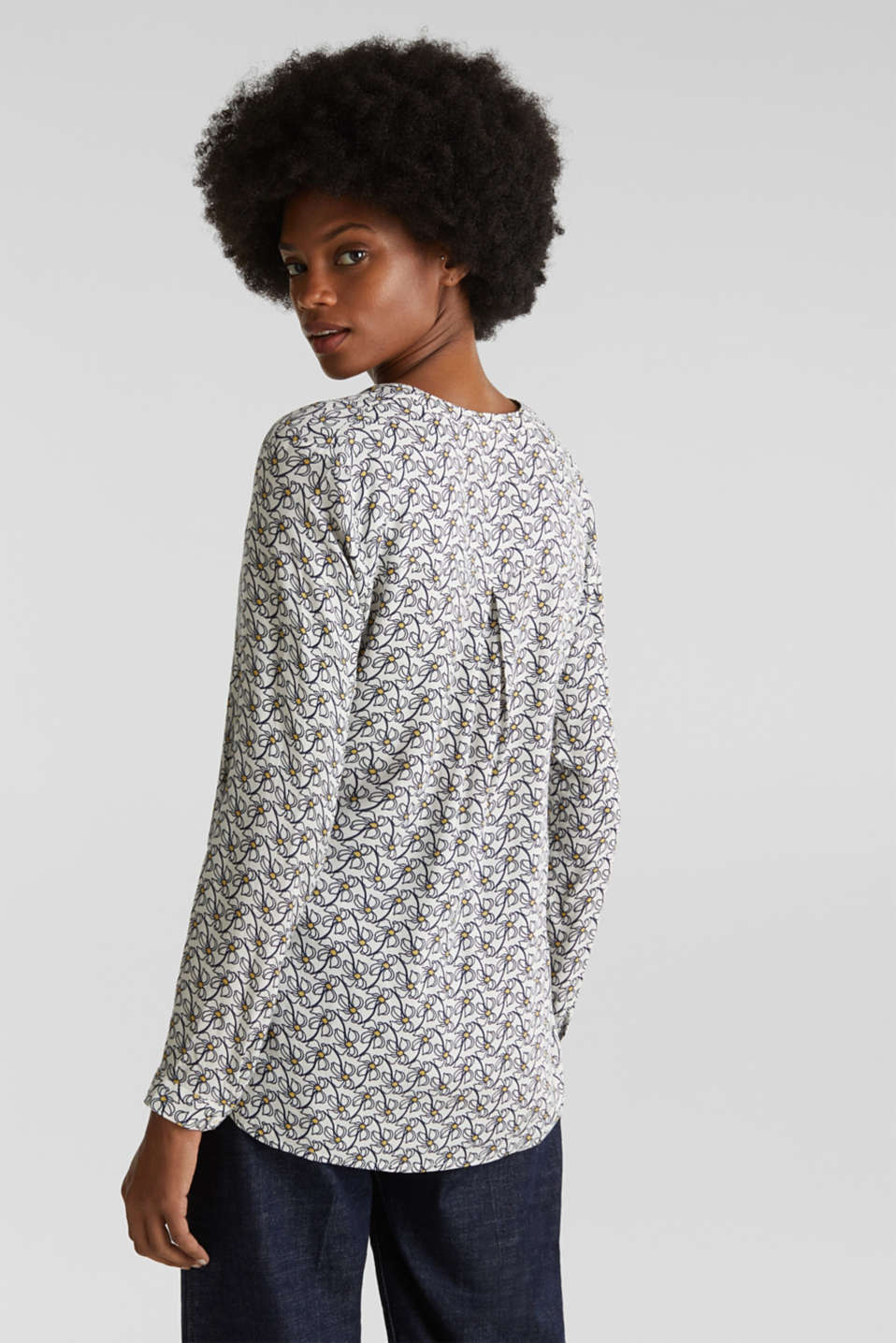 Henley blouse with an all-over print, OFF WHITE 4, detail image number 3