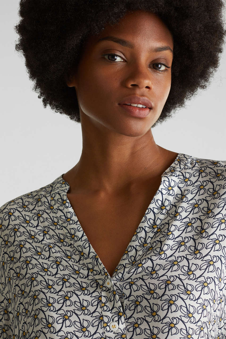 Henley blouse with an all-over print, OFF WHITE 4, detail image number 6