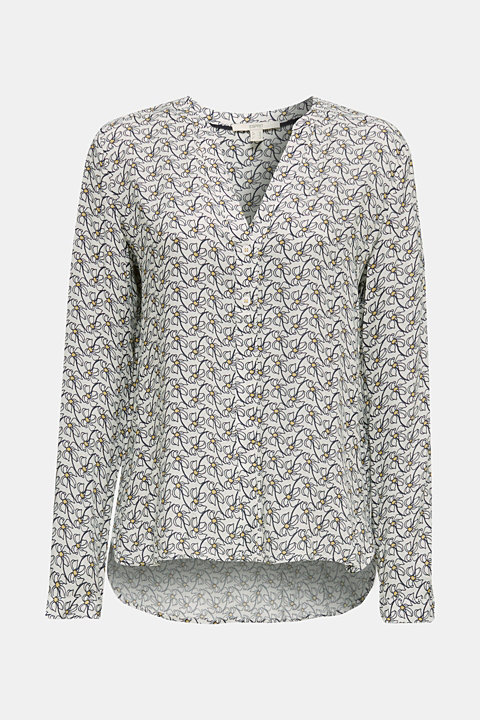 Henley blouse with an all-over print