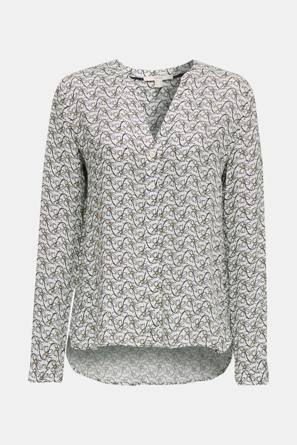 Henley blouse with an all-over print, OFF WHITE 4, detail image number 7