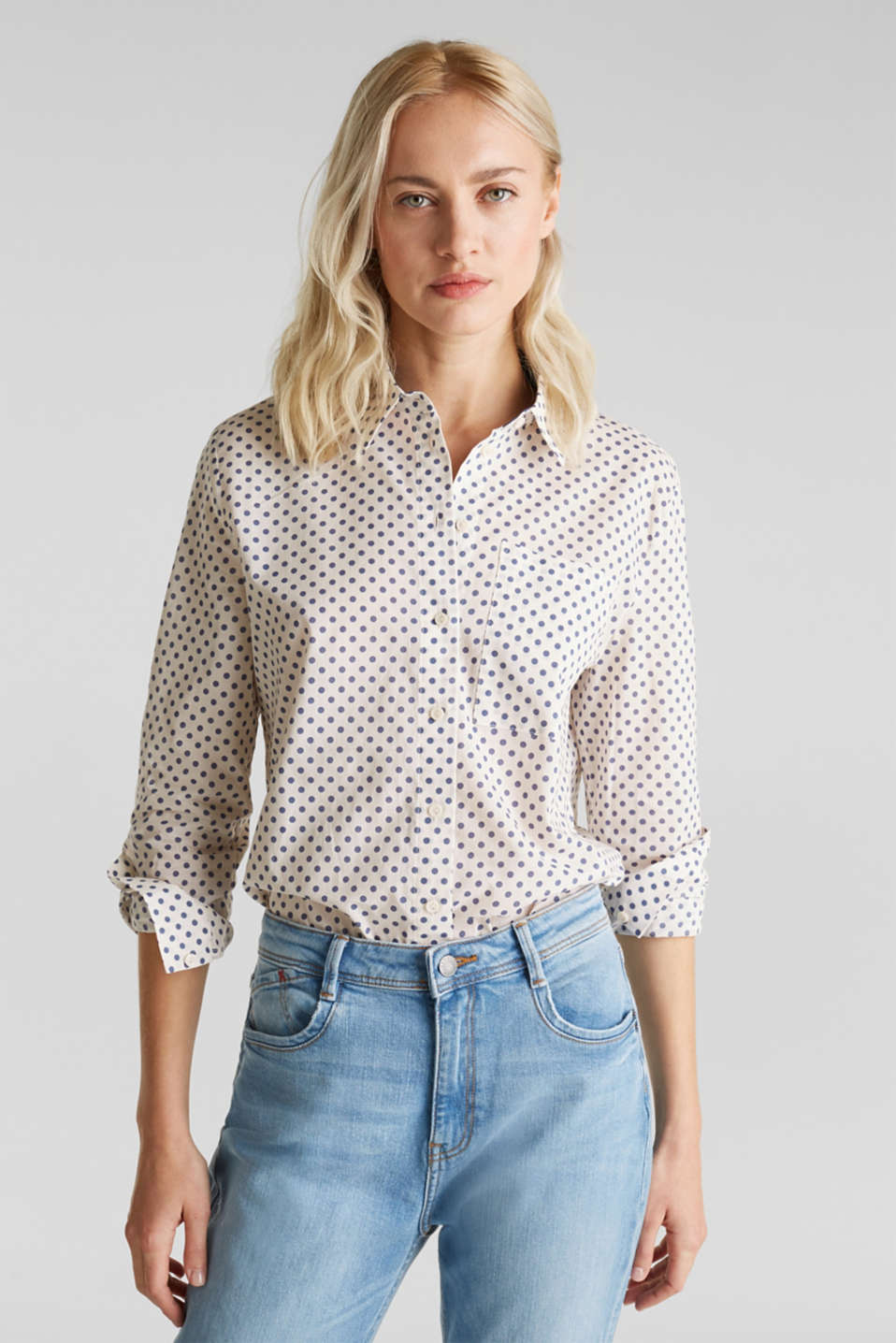 Esprit - Blouse with a high-low hem, 100% cotton
