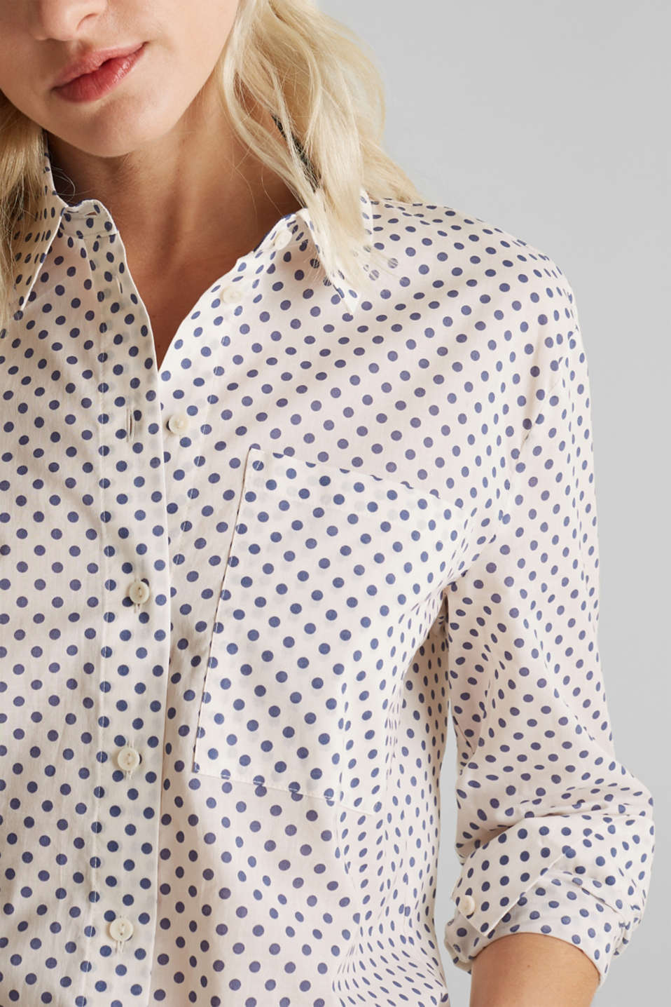 Blouse with a high-low hem, 100% cotton, OFF WHITE 4, detail image number 2