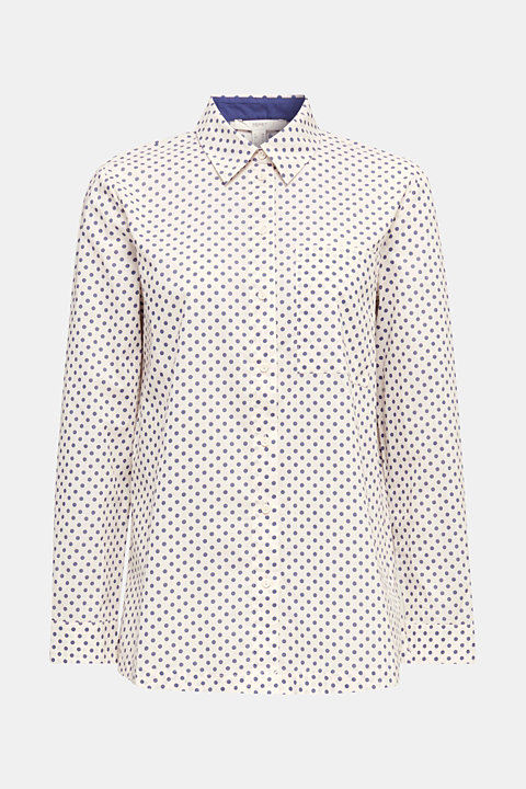 Blouse with a high-low hem, 100% cotton
