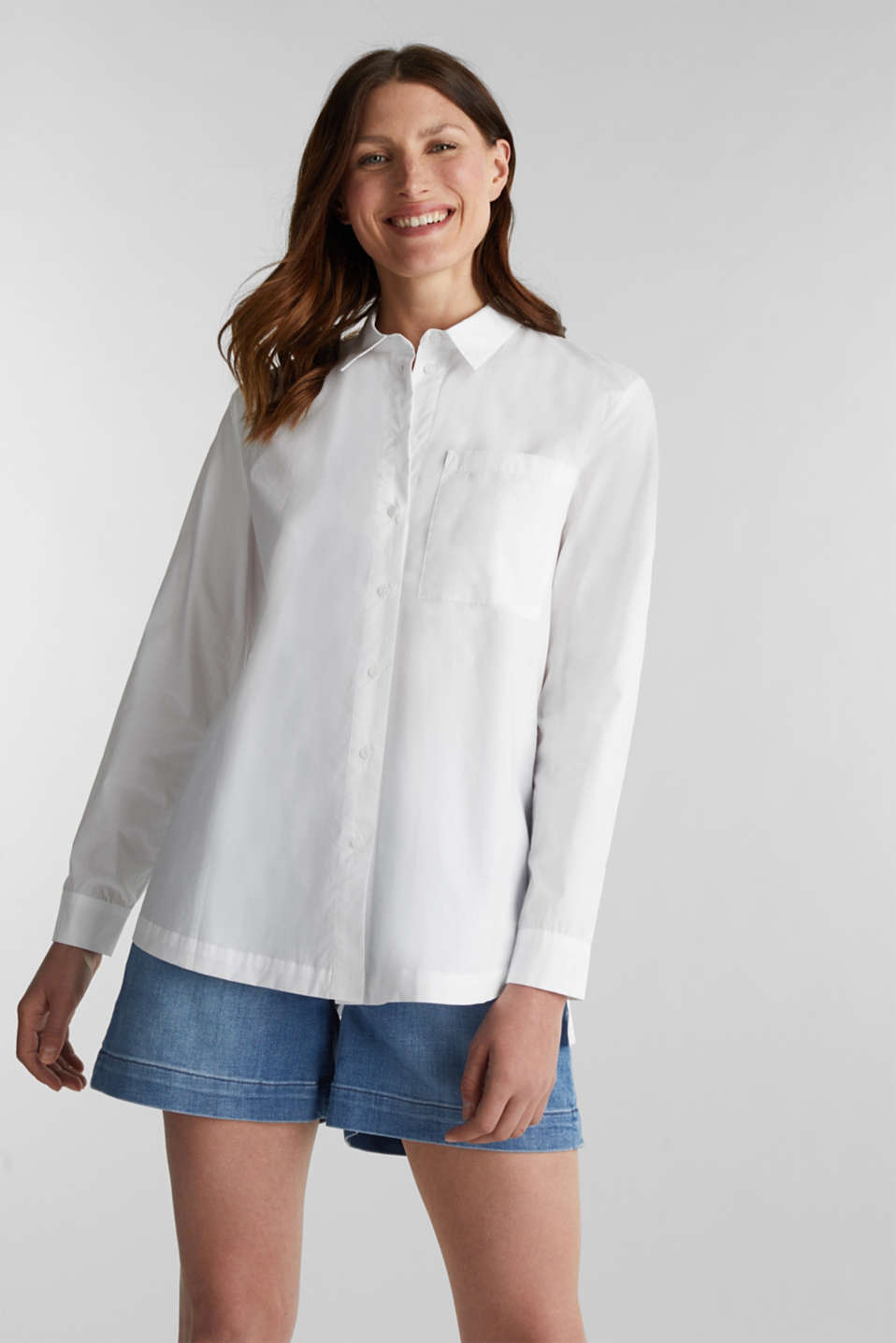 Shirt blouse in a casual cut, 100% cotton, WHITE, detail image number 0