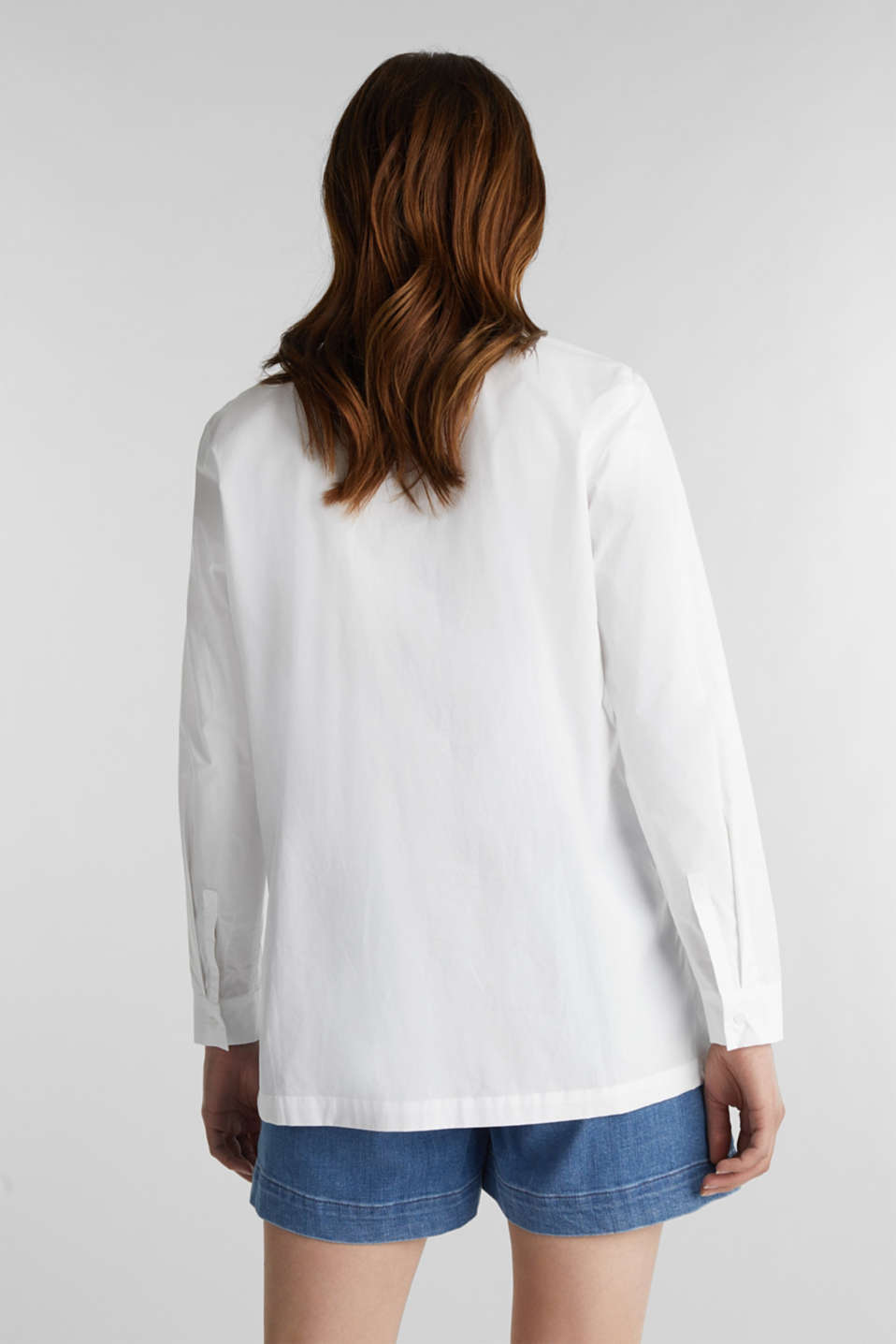 Shirt blouse in a casual cut, 100% cotton, WHITE, detail image number 3