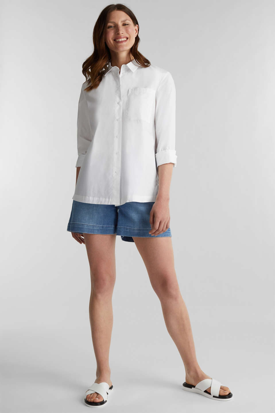 Shirt blouse in a casual cut, 100% cotton, WHITE, detail image number 1