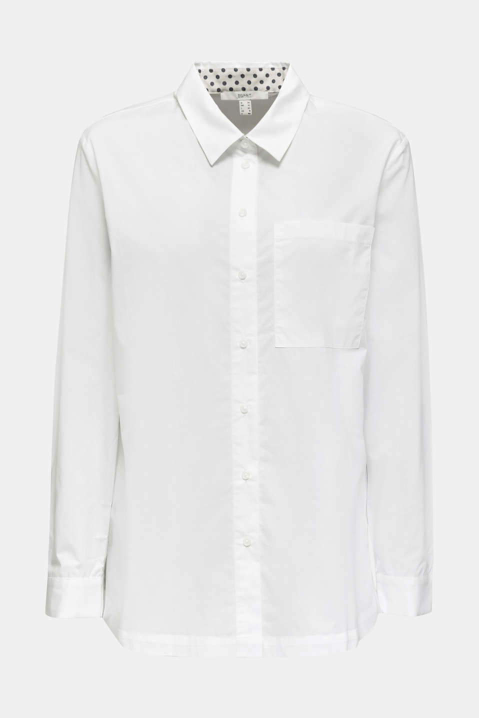 Shirt blouse in a casual cut, 100% cotton, WHITE, detail image number 6