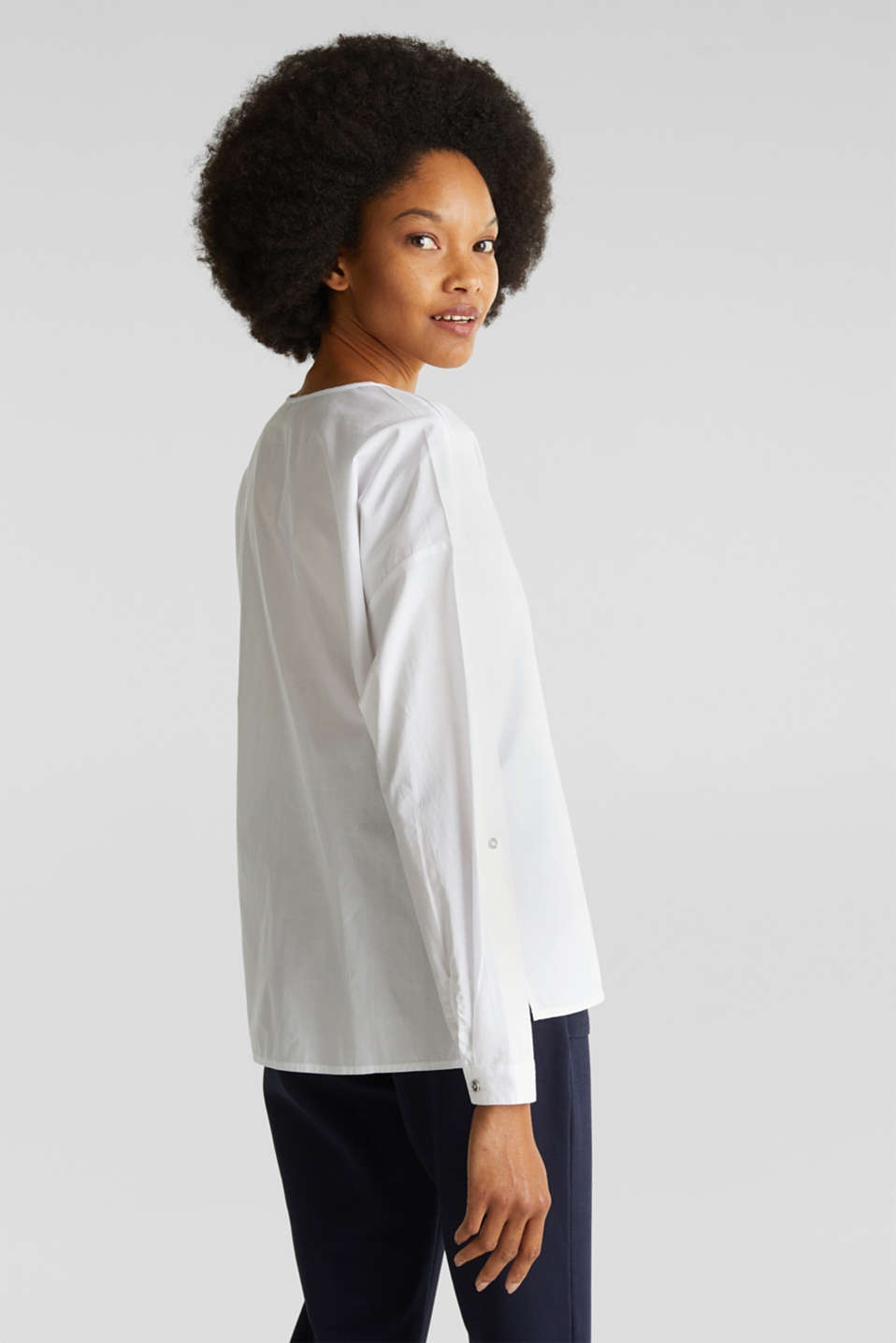 Blouse with turn-up sleeves, 100% cotton, WHITE, detail image number 3