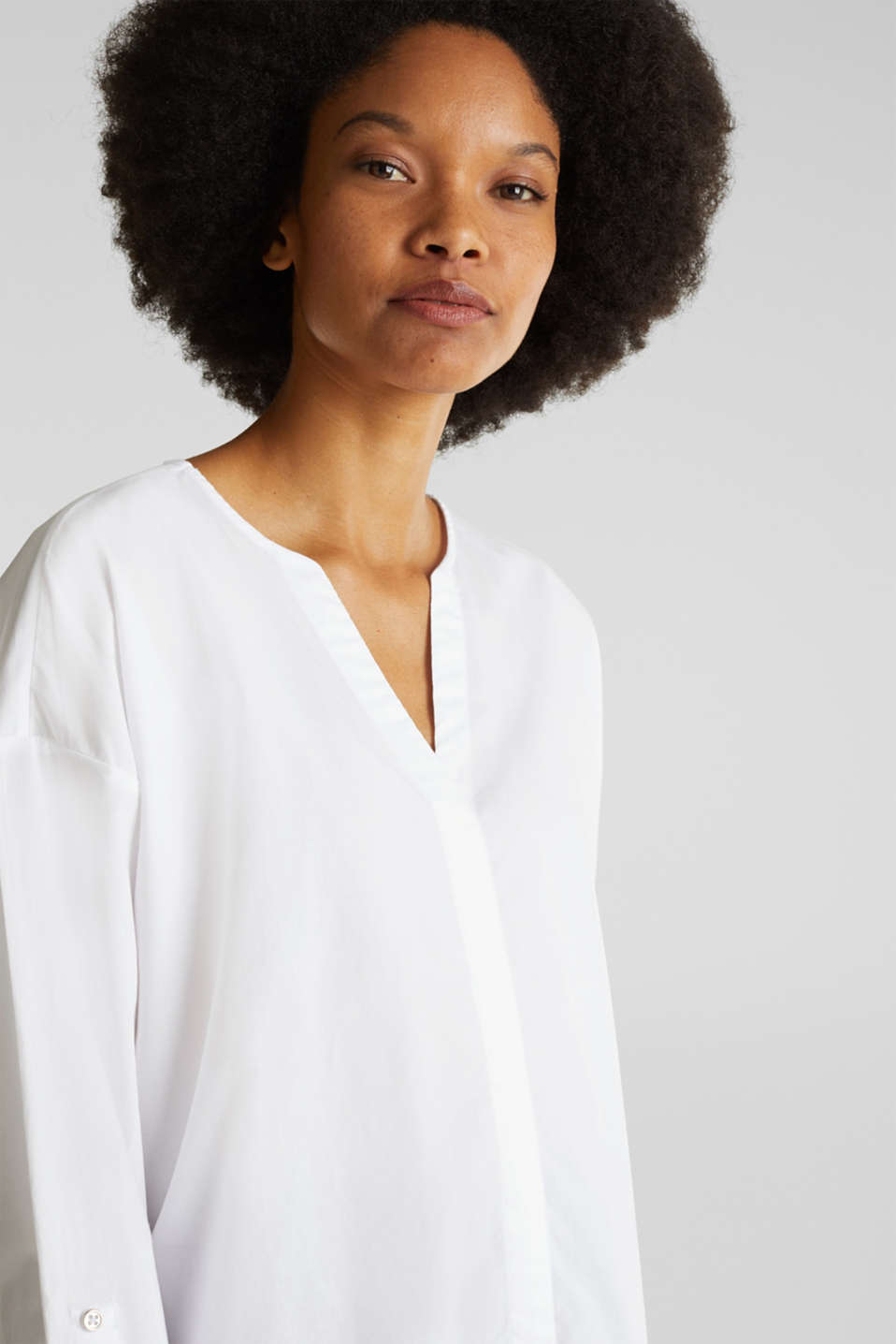 Blouse with turn-up sleeves, 100% cotton, WHITE, detail image number 6